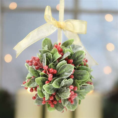 Western Wedding Theme Decorations - frosted artificial mistletoe and holly kissing ball wall hanging decorations christmas and