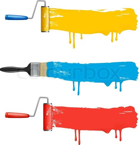 set of colorful paint roller brushes vector illustration stock vector colourbox