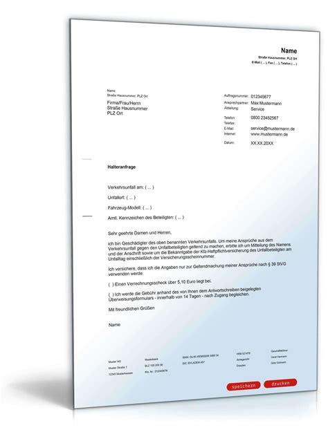 Offizieller Brief Form halteranfrage registerauskunft muster zum