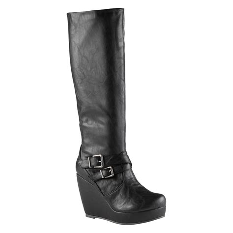 aldo wedge boot in black lyst