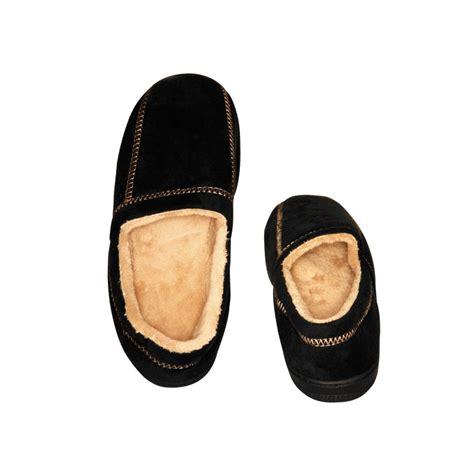 s memory foam slippers black faux suede fleece