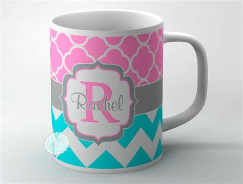 mug designer design your own coffee mug turquoise blue chevron and pink