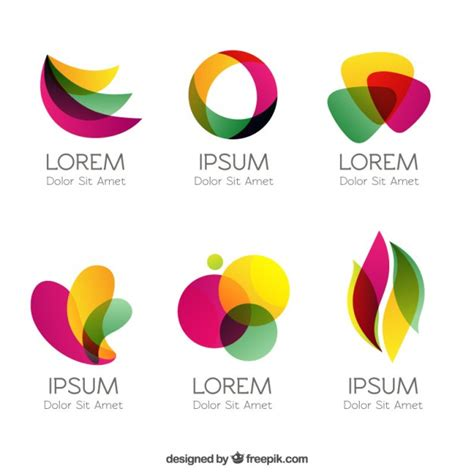 colorful logos in abstract style vector free