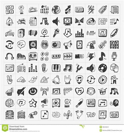 free doodle icon doodle icons set stock vector illustration of note