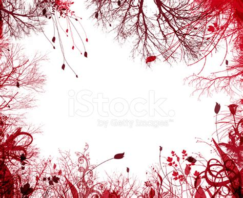 Art Deco Home Interiors by Red Frame Border Flowers And Trees Stock Photos