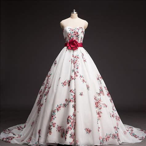 Flower Pattern Wedding Dress | ball gown floral printed wedding dress 2016 chapel train