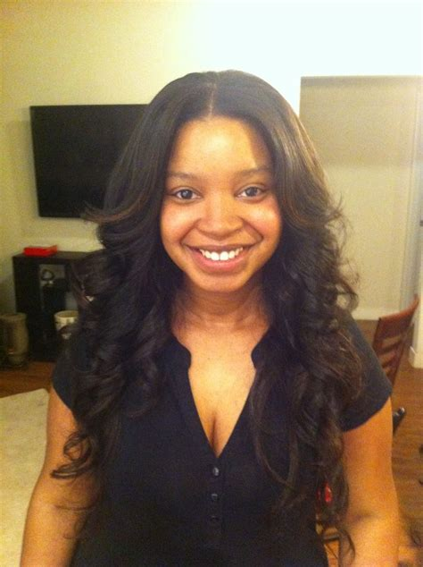 part in the middle sew in sew in middle part heavenly tresses pinterest