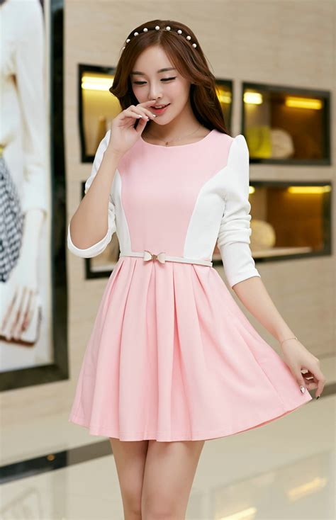 Dress Korea Pink By Griyaaglie korean 2014 princess dress fitted sweet pink