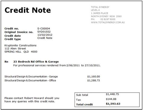 Credit Note Bill Format Credit Note格式 Credit Note与debit Note的区别 福步外贸百科