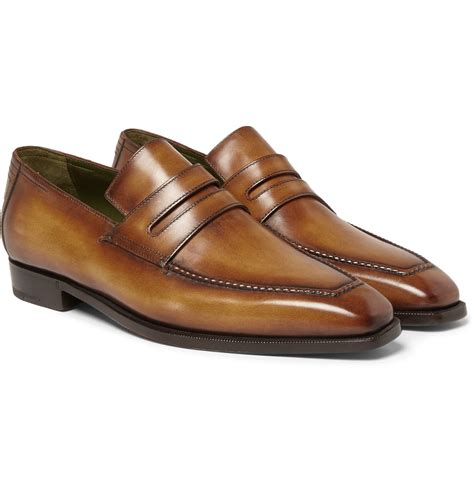 berluti loafers berluti andy burnished leather loafers in brown for lyst