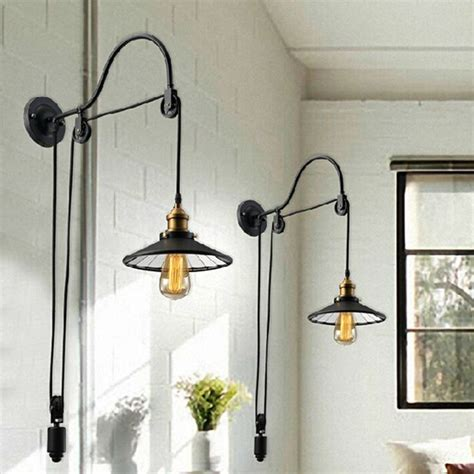 bathroom light pulley vintage adjustable pulley length iron glass reading wall