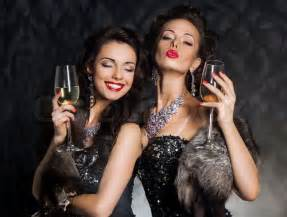 New Year S Eve Of Two Beautiful Young Women With Wine