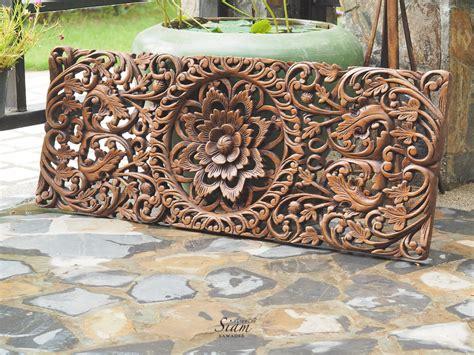 buy floral carved wooden wall panel