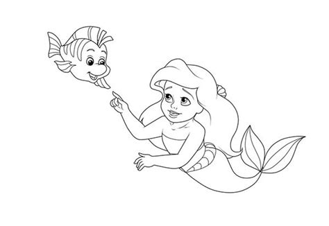 coloring pages baby ariel free coloring pages of flounder