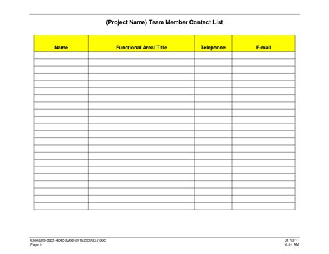 list template 7 best images of free printable business contact list