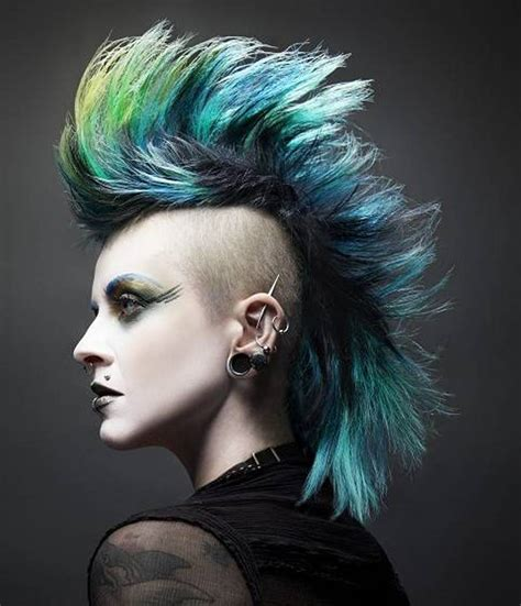 new rock hair styles with lines mohawk punk hairstyle for women fashion pinterest