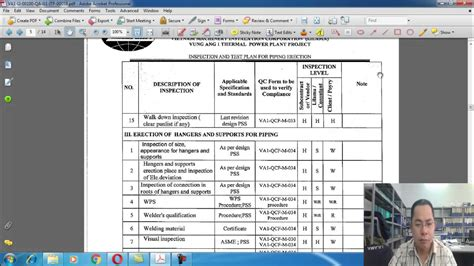 inspection test plan template inspection and test plan piping