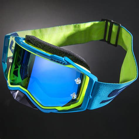 scott motocross goggles scott new mx prospect blue yellow chrome mirror lens