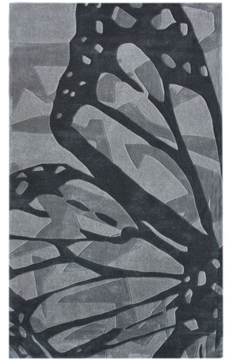 Kids Hand Tufted Area Rug Carpet 8x10 Grey Butterfly Ebay Butterfly Area Rugs