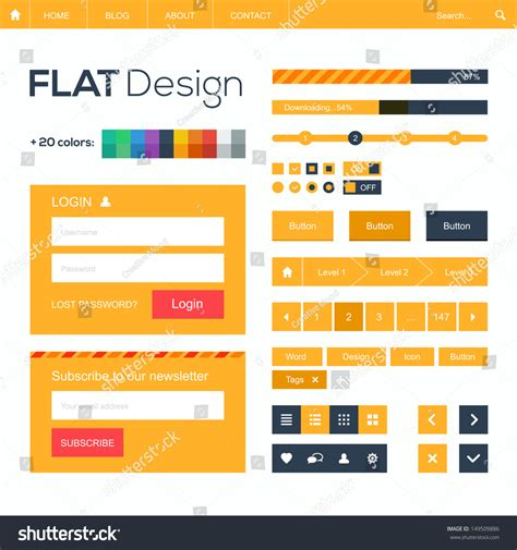 element layout template is not supported flat web mobile design elements buttons stock vector
