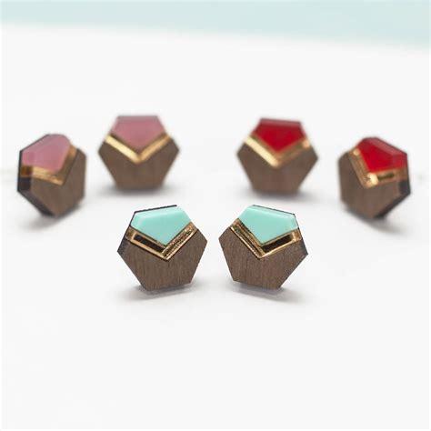 wood and acrylic geometric stud earrings by twiggd