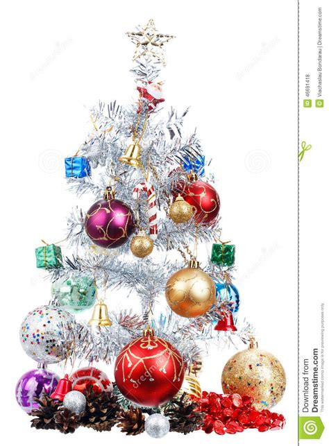 white christmas tree decorated with many presents stock