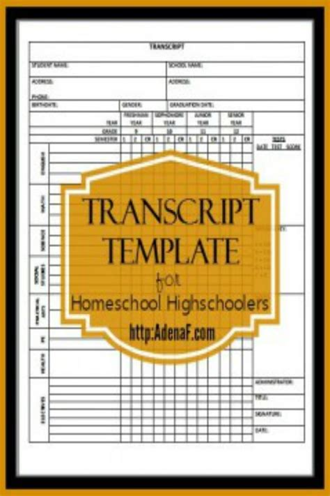 Free Printable High School Homeschool Transcript Template Free Homeschool Transcript Template