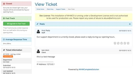 Whmcs Support Extended Whmcs Module Shop Support Ticket Response Template