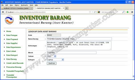 program aplikasi inventarisasi alat kantor bunafit komputer
