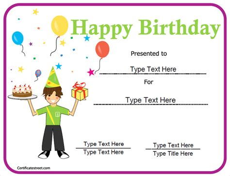 printable birthday certificate templates special certificates happy birthday certificate
