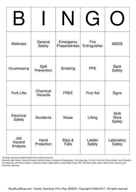 safety bingo template safety bingo 2013 bingo cards to print and