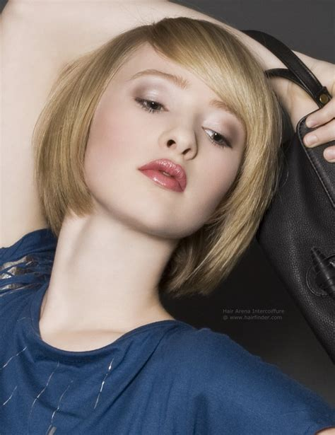 neck length bob with a side swept fringe and an angled parting neck length bob with a side swept fringe and an angled parting