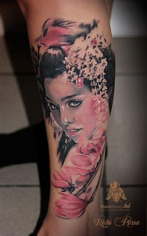 blue and pink portrait tattoo realistic looking colored beautiful asian portrait