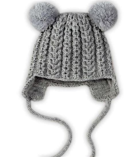 knit hats for toddlers earflap pom pom hat allfreeknitting
