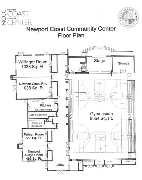 facility floor plan newport coast community center city of newport beach