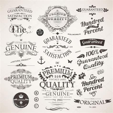 vintage design elements font vector set calligraphic design elements engraving flowers