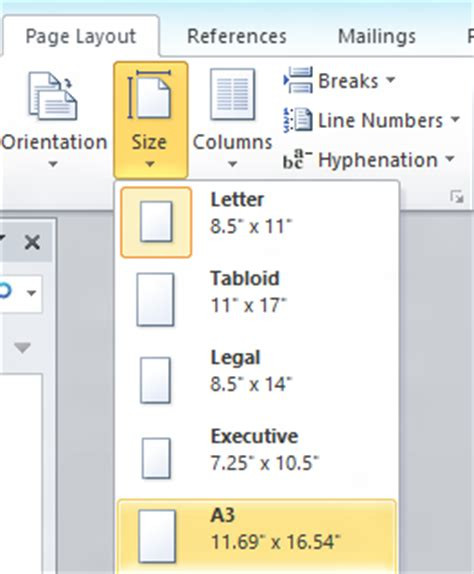 word layout size how to set a3 paper size in excel 2007 different page