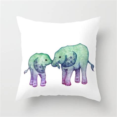 Mint Elephant Rug by Baby Elephant Ombre Mint Purple Throw Pillow