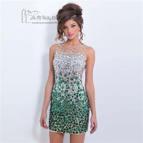christmas green crystals cocktail dresses 2017 short