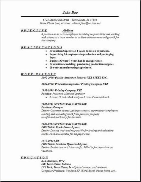 Resume For Airline airlines resume occupational exles sles free edit