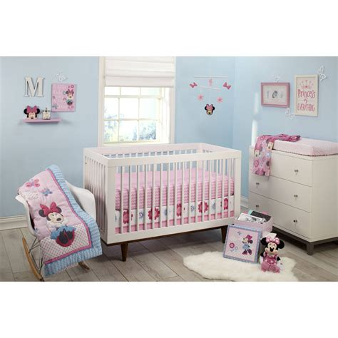 Disney Minnie Mouse Happy Day 4 Piece Crib Bedding Set Ebay Minnie Crib Bedding