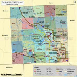 Pontiac Michigan Time Zone Oakland County Map Michigan