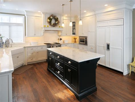 Off White Kitchen Designs by White Kitchen With Black Island Traditional Kitchen