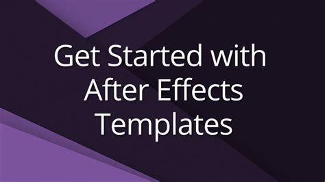 how to use templates for after effects get started with after effects templates video tutorial