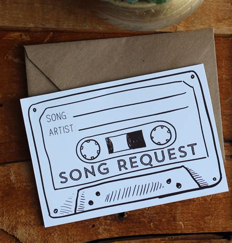 Wedding Song Request Card by Instant Cassette Song Request Printable Digital