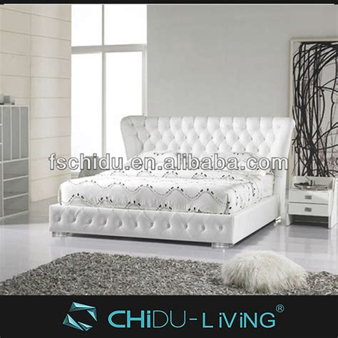modern luxury white double leather bed  crystalsantique bedroom furniture view king size