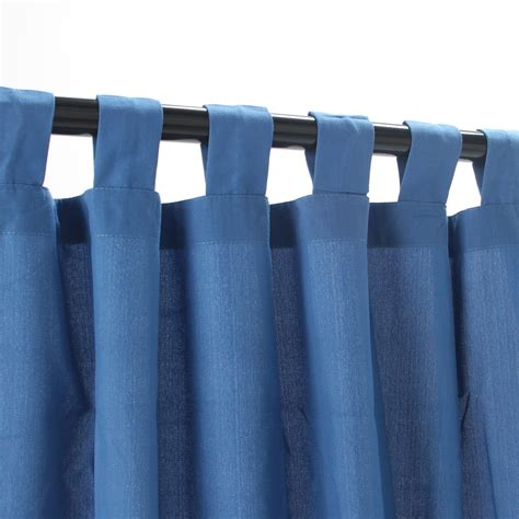 tab top curtains blue coastal blue weathersmart outdoor curtain with tabs on
