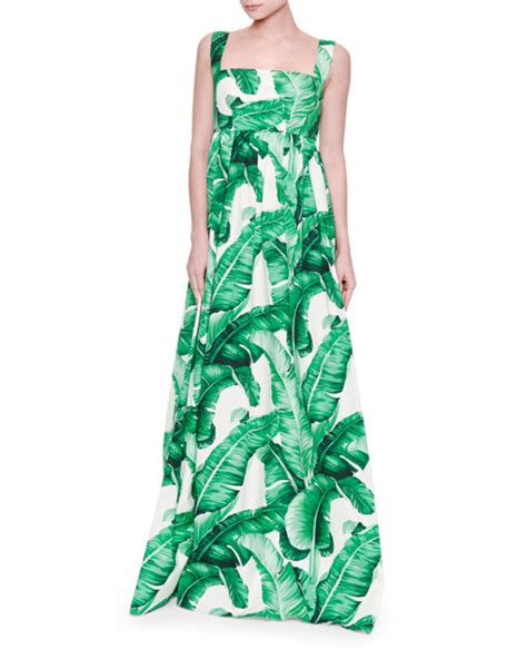 Leaf Dress White dolce gabbana banana leaf print maxi tank dress white