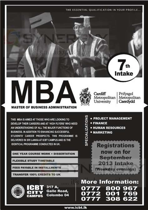 Icbt Mba Sri Lanka by Icbt Mba Degree Programme New Enrollment For September