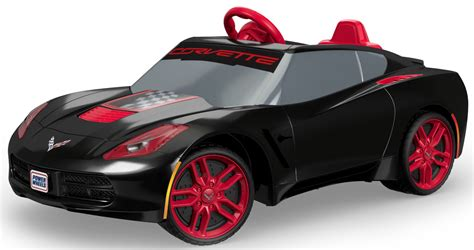 power wheels kids ride on car black corvette power wheels red rims